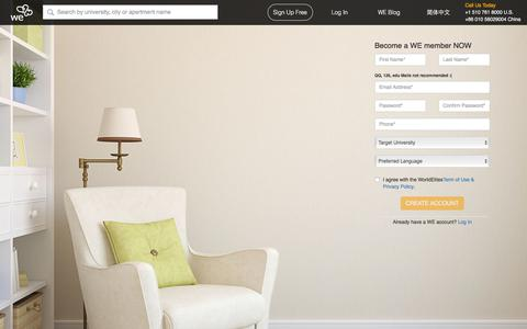 Screenshot of Signup Page wehousing.com - WeHousing.com: Rent University Nearby Student Housing Easier - captured July 11, 2018
