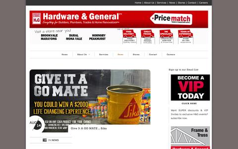 Screenshot of Press Page hg.com.au - News - H&G   Hardware & GeneralH&G   Hardware & General   Everything for Builders, Plumbers, Trades & Home Renovators - captured Oct. 2, 2014
