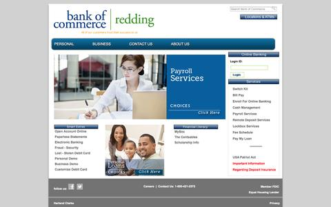 Screenshot of Home Page Privacy Page Contact Page Jobs Page reddingbankofcommerce.com - Welcome to Bank of Commerce | Redding - captured Oct. 5, 2014