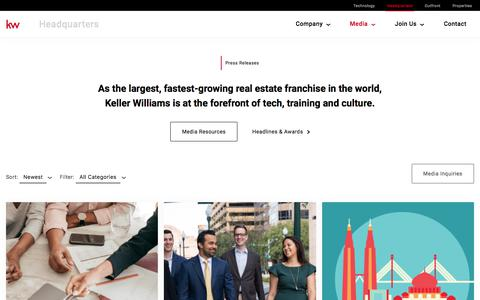 Screenshot of Press Page kw.com - Press Releases Archive - Keller Williams Headquarters - captured Aug. 16, 2019
