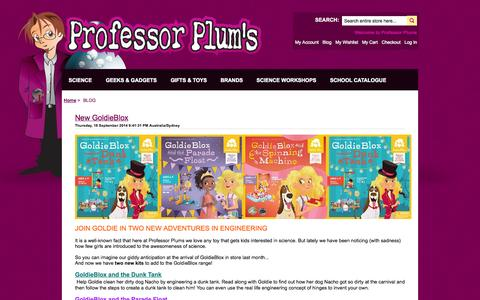 Screenshot of Blog professorplums.com.au - Blog - captured Oct. 7, 2014