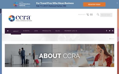 Screenshot of About Page ccra.com - About CCRA and the Travel Commerce Network Leadership Team - captured Sept. 22, 2018