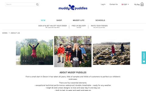 Screenshot of About Page muddypuddles.com - About Us | Muddy Puddles - captured Sept. 22, 2018