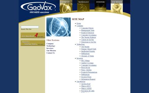 Screenshot of Site Map Page geovax.com - AIDS Vaccine ResearchSitemap - GeoVax | GeoVax, Inc. - captured July 19, 2014