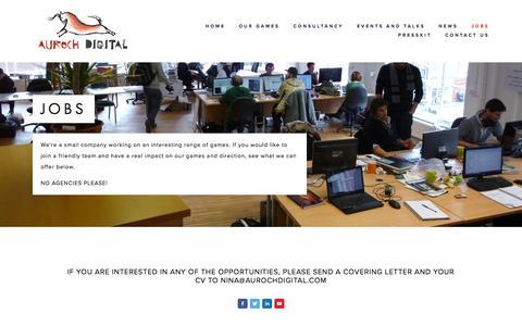 Screenshot of Jobs Page aurochdigital.com - Jobs — Auroch Digital - captured Feb. 6, 2016