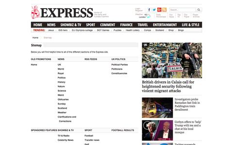 Screenshot of Site Map Page express.co.uk - Express. Home of the Daily and Sunday Express - captured Aug. 19, 2016