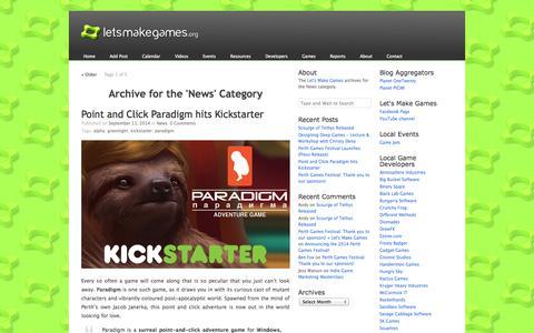 Screenshot of Press Page letsmakegames.org - News «  Let's Make Games - captured Sept. 19, 2014