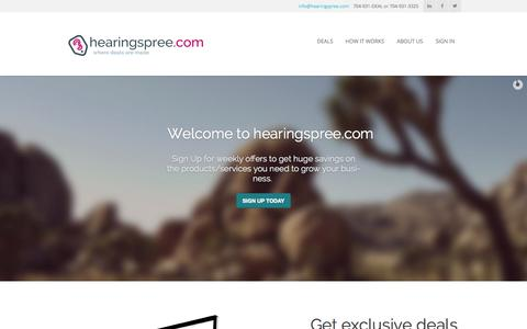 Screenshot of Home Page About Page Signup Page Login Page Terms Page hearingspree.com - hearingspree.com - captured Oct. 3, 2014