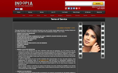 Screenshot of Terms Page indopia.com - Privacy Policy – Indopia is an online indian movies website - captured Feb. 4, 2016