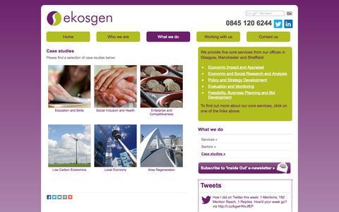 Screenshot of Case Studies Page ekosgen.co.uk - Case studies - ekosgen - captured Sept. 26, 2014