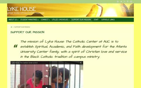 Screenshot of Support Page lykehouse.org - Support Our Mission – Lyke House - captured June 9, 2016