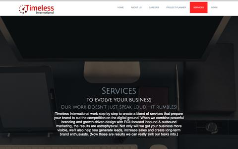 Screenshot of Services Page timelessict.com - Services - Timeless International - captured Nov. 16, 2018