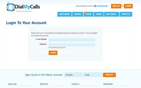 Screenshot of Login Page dialmycalls.com - Login to Your Account - DialMyCalls.com - captured Oct. 10, 2014