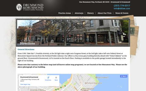 Screenshot of Maps & Directions Page ddlaw.com - Drummond & Drummond at One Monument Way, Portland, ME 04101 - captured Oct. 13, 2017