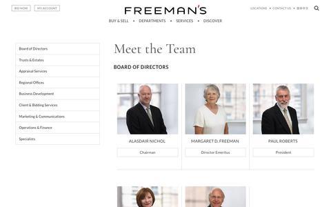 Screenshot of Team Page freemansauction.com - Meet the Team | Freeman's - captured Sept. 22, 2018