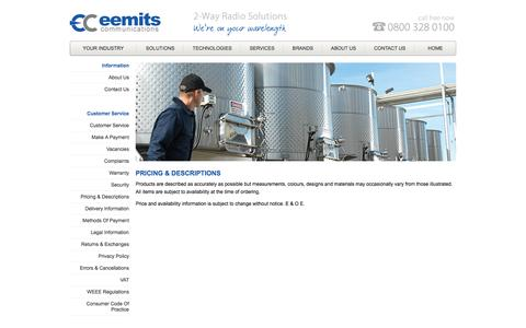 Screenshot of Pricing Page eemits.co.uk - Eemits Communications - captured Oct. 2, 2014