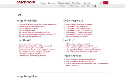 Screenshot of FAQ Page catchoom.com - Catchoom | Image Recognition and Augmented Reality | FAQ - captured July 19, 2014