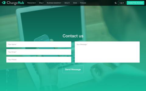 Screenshot of Contact Page chargehub.com - Contact us | ChargeHub - captured Jan. 27, 2017