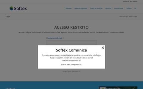 Screenshot of Login Page softex.br - Login – Softex - captured Nov. 5, 2018