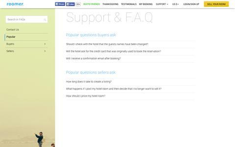 Screenshot of FAQ Page Support Page roomertravel.com - FAQ, Roomer - captured Oct. 26, 2014