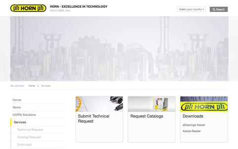 Screenshot of Services Page hornusa.com - Services » Horn USA, Inc. - EXCELLENCE IN TECHNOLOGY - captured July 22, 2018