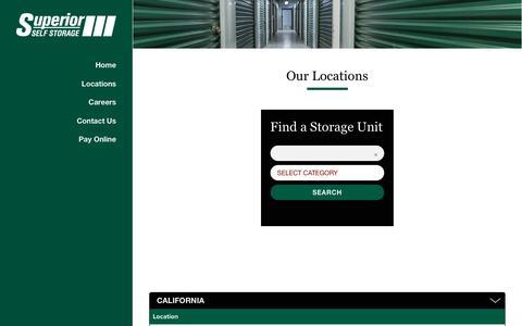 Screenshot of Locations Page superiorselfstorage.net - Superior Self Storage's Locations - captured Nov. 5, 2017
