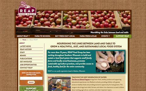 Screenshot of About Page reapfoodgroup.org - About REAP - captured Oct. 7, 2014