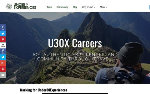 Screenshot of Jobs Page under30experiences.com - Adventure Travel Careers | Under30Experiences - captured Nov. 8, 2018