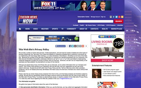 Screenshot of Privacy Page tucsonnewsnow.com - This Web Site's Privacy Policy - Tucson News Now - captured Sept. 19, 2014