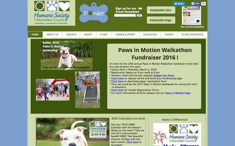 Screenshot of Home Page humanemanatee.org - Humane Society of Manatee County   Bradenton, Florida - captured Feb. 1, 2016