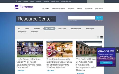 Screenshot of Case Studies Page extremenetworks.com - Case Study Archives - Extreme Networks - captured Aug. 22, 2016