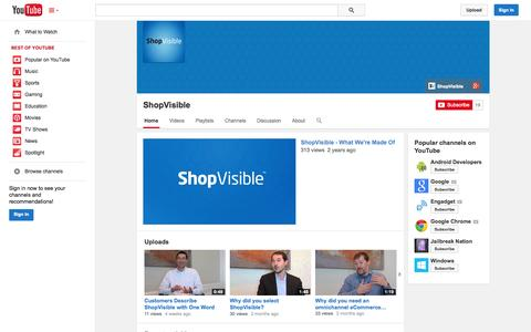 Screenshot of YouTube Page youtube.com - ShopVisible  - YouTube - captured Oct. 22, 2014