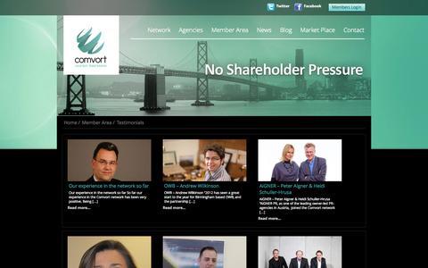 Screenshot of Testimonials Page comvort.com - Testimonials   Comvort - captured Sept. 19, 2014