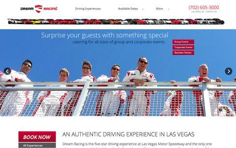 Screenshot of Home Page dreamracing.com - Dream Racing at Las Vegas Motor Speedway. Drive Racecars and Exotics� Dream Racing - captured Jan. 7, 2016