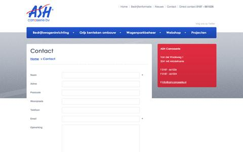 Screenshot of Contact Page ashcarrosserie.nl - Contact - ASH Carrosserie - captured Nov. 2, 2014