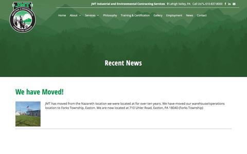 Screenshot of Press Page jmtenv.com - Recent News - JMT Environmental Technologies - PA, NJ Area - captured July 7, 2017