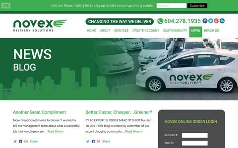 Screenshot of Press Page novex.ca - News - Novex - captured Dec. 20, 2016