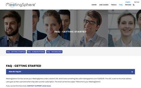 Screenshot of FAQ Page meetingsphere.com - FAQ Getting Started   MeetingSphere - captured July 6, 2017