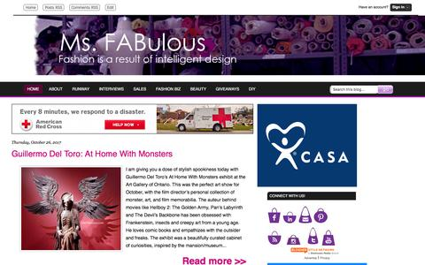 Screenshot of Home Page msfabulous.com - MS. FABULOUS fashion design, indie clothing, style, beauty - captured Oct. 30, 2017
