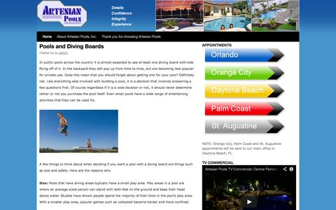 Screenshot of Blog artesianpools.com - Daytona Beach, Orlando Custom Inground Swimming Pool Builders | Orlando Pool Builders - captured Sept. 30, 2014