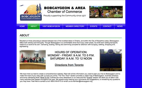 Screenshot of About Page bobcaygeon.org - Bobcaygeon Chamber of Commerce | ABOUT - captured April 26, 2017
