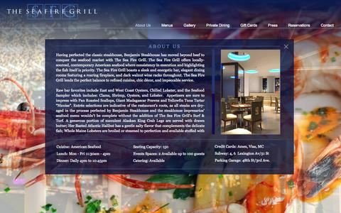 Screenshot of About Page theseafiregrill.com - The Sea Fire Grill About us - captured Sept. 30, 2014