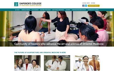 Screenshot of Home Page emperors.edu - Acupuncture School, Los Angeles California | Oriental Medicine College - captured July 11, 2014