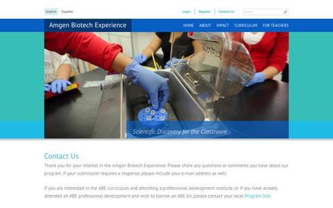 Screenshot of Contact Page amgenbiotechexperience.com - Contact Us | Amgen Biotech Experience - captured Sept. 13, 2014
