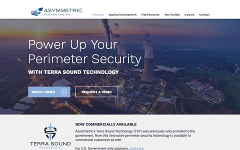 Screenshot of Products Page asymmetric.com - Perimeter Security with Terra Sound Technology | Asymmetric Technology - captured Oct. 4, 2018