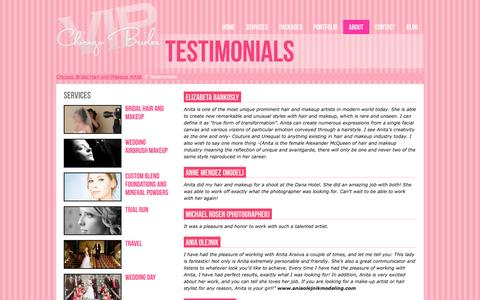 Screenshot of Testimonials Page vipchicagobrides.com - Read what our brides said about VIP Chicago Brides - captured Oct. 1, 2014