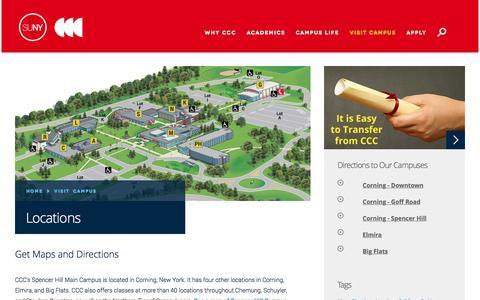 Screenshot of Locations Page corning-cc.edu - Locations | Corning Community College - captured Feb. 1, 2016