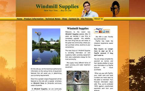 Screenshot of About Page windmillsupplies.com.au - Windmill Supplies - About Us - captured Oct. 9, 2014