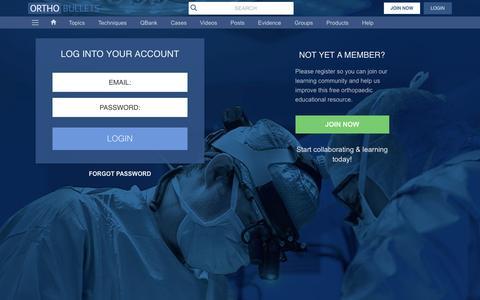 Screenshot of Login Page orthobullets.com - Login - captured Nov. 30, 2016