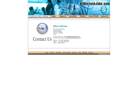 Screenshot of Contact Page allbiotechjobs.com - Allbiotechjobs.com bringing together job seekers and job providers in Biotechnology - captured Oct. 4, 2014